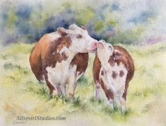 My Hereford cows watercolor is available as a cute art print and greeting cards.  Perfect for farmhouse and cow decor, in addition to wall art for the nursery.  To view more animal art by Teresa Silvestri, visit www.SilvestriStudios.com