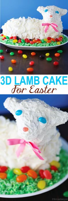 3D Lamb Cake For Easter is a vanilla cake with buttercream frosting and coconut flakes.