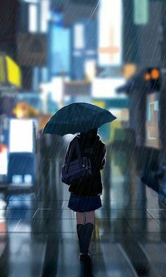 Rainy days in tokyo🌧🌃 Wallpaper Animes, Anime Scenery Wallpaper, Anime Artwork, Cartoon Wallpaper, Animes Wallpapers, Anime Girl Cute, Anime Art Girl, Manga Art, Pretty Art