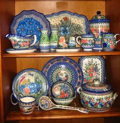 polish pottery. I love this, but would never be able to afford it. But so beautiful!!!