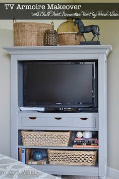 TV Armoire Makeover in Chalk Paint® decorative paint by Annie Sloan with a pop of color inside | By House on the Way