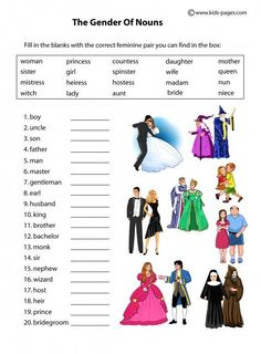 Kids Pages - Nouns Gender - People English Grammar Exercises, English Grammar For Kids, Teaching English Grammar, English Grammar Worksheets, Grammar Lessons, Learn English Words, English Vocabulary, Learning English, Worksheets For Class 1