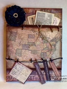 American Vintage USA Map Collage - perfect pockets for postcards, city maps and travel documents - Ready Set Create With Canvas Corp | Scrap n' Art Online Magazine - Information. Inspiration. Education. Since 2008.