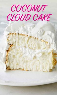 Coconut Cloud Cake This light, flavorful dessert, filled and topped with seven-minute frosting and coconut, is a little slice of heaven. Cake Recipes, Dessert Recipes, Desserts, Seven Minute Frosting, White Velvet Cakes, Buttermilk Cake Recipe, Cloud Cake, Moist Cakes, Savoury Cake