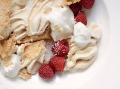 When I was in Switzerland last autumn, our hosts served us a very simple dessert that nevertheless made me sit up and take notice. They told us that it is a favorite dessert in that region: Large, crisp meringues purchased from the grocery store, served with barely-sweetened whipped cream. Together the crisp meringue and soft cream melted together into one sweet yet simple, rich yet light dessert.
