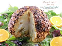 """I wanted to create a Whole Roasted Cauliflower that reminded me of the flavors of roasted turkey. During special holiday meals David and I have used Tofurkeys and Nut Loaves for our """"Turkey"""" portion of the meal."""