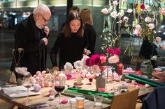 Pom Pom Factory paper peony making event at Carousel London.   Karen is making a buttonhole for one of the guest.