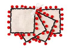 One Kings Lane - Holiday Entertaining - D S/4 Pom-pom Cocktail Napkins, Ruby
