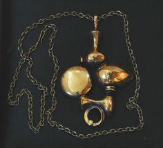 Jorma Laine for Turun Hopea (FI), vintage modernist bronze necklace, 1970s. #finland | finlandjewelry.com