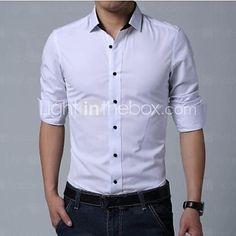 Camisa De los hombres Un Color Casual   Trabajo   Formal-Algodón-Manga Larga 9a47652ab52