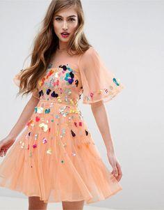 Mesh Scattered Sequin Mini Dress