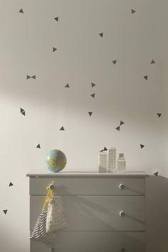 Ferm Living Muursticker driehoekjes zwart vinyl 72 stuks, Mini Triangles black
