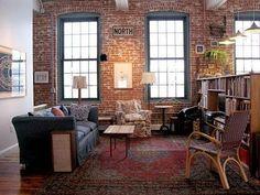 Joel & McKenzie's Salvaged Live/Work Loft Rugs In Living Room, Living Area, Apartment Living, Apartment Therapy, Apartment Design, Loft Industrial, Interior And Exterior, Interior Design, Exposed Brick Walls