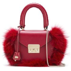 Salar fox fur tote bag (€340) ❤ liked on Polyvore featuring bags, handbags, tote bags, red, burgundy handbags, salar, red tote, tote bag purse and handbags totes