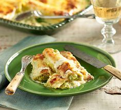Asparagus and broccoli cannelloni in cheese sauce: This vegetable special is a good way to up your (or the kids!) intake of greens. Wrapped in pasta with a two-cheese sauce, you won't even mi...