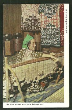 AINU Woman Weaving Bulrush Mat Japan 50s