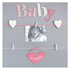 """Cadre Photo Enfant Pêle-mêle 5 vues personnalisable Fille """"Baby"""" Pêle-mêle 5 vues personnalisable Fille """"Baby"""""""