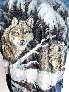 Vintage 1990s Classic BLUE WOLF Tie Dye Deadhead Hippy Festival T-Shirt Tee M