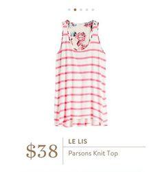 Stitch Fix: Le Lis Parsons Knit Top - Pink. Stripes. Floral. Casual. <3