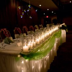 head table with the ribbon turquoise and the candles will be the same as i want for the other table center pieces.