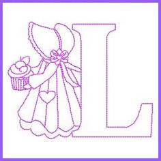 Sunbonnet Alphabet - L Embroidery Hoop Crafts, Embroidery Alphabet, Embroidery Monogram, Learn Embroidery, Vintage Embroidery, Cross Stitch Embroidery, Machine Embroidery Designs, Embroidery Patterns, Hand Embroidery