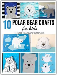 Aren't polar bears cute? These playful polar bear crafts for kids are perfect to learn about these adorable animals, as well as about Arctic life. Animal Crafts For Kids, Craft Projects For Kids, Crafts For Kids To Make, Craft Activities For Kids, Craft Ideas, Bear Crafts, Bunny Crafts, Cute Crafts, Writing Prompts For Kids