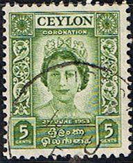 Ceylon Queen Elizabeth II 1953 Coronation Fine Used Stamps for Sale $0.14