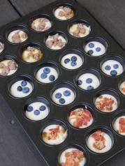 Versatile pancakes in muffin tin for New Year's eve morning. Add whatever you like!
