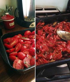 Roasted Tomato Marinara Sauce -Roma tomatoes, roasted with garlic, herbs and spices, then blended in to this Roasted Tomato Marinara Sauce, perfect for freezing. No tomato peeling or canning required! Roasted Tomato Pasta, Tomato Pasta Recipe, Oven Roasted Tomatoes, Cooking Tomatoes, Homemade Tomato Sauce, Homemade Marinara, Canning Marinara Sauce, Roasting Tomatoes For Sauce, Recipe For Marinara Sauce