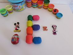 Letter E - learn ABC alphabet with toys and Play Doh Kinder surprise eggs