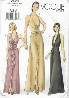 Vogue Sewing Pattern Sewing Pattern Vogue 7428 Long Dress Gown Low Cut Halter Neck Uncut 12 Evening Dress uncut pattern by weseatree on Etsy Evening Dress Patterns, Wedding Dress Patterns, Vintage Dress Patterns, Clothing Patterns, Vogue Patterns, Vintage Mode, Fashion History, Diy Clothes, Evening Dresses