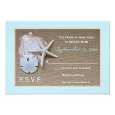 Beach Theme RSVP Wedding Invitation
