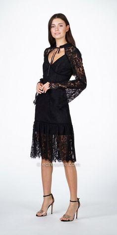 8854d58c985 Bell Sleeve Victorian Gina Lace Midi Dress by Adelyn Rae