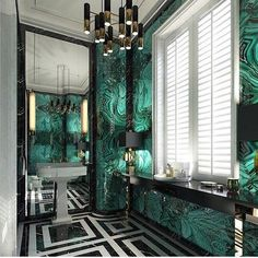 Ideas for bathroom colors green art deco Interiores Art Deco, Casa Pop, Design Rustique, Luxury Chandelier, Chandeliers, Modern Chandelier, Bathroom Colors, Bathroom Ideas, Guys Bathroom