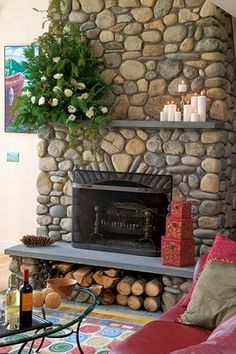 simply vintageous...by Suzan: Stone Fireplaces