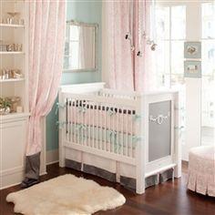 Pink and Gray Rosa Crib Bedding   Carousel Designs