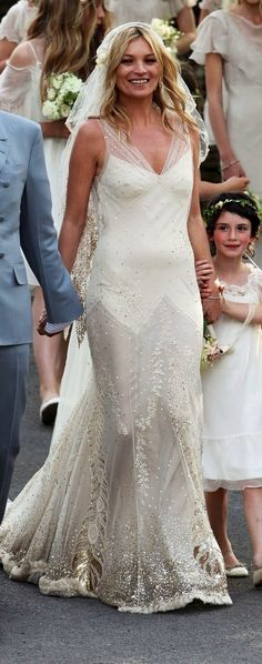 Kate Moss' wedding dress by designer John Galliano. www.virginiajustermarriagecelebrantgympie.com