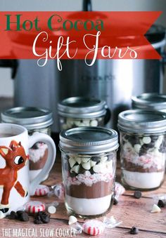 I created these adorable Hot Cocoa Gift Jars for Christmas gifts. Most everyone makes hot chocolate during the holiday season and I have so many people to buy gifts for anyway. I made a few extra f. Jar Gifts, Gift Jars, Food Gifts, Candy Gifts, Craft Gifts, Salted Chocolate, Semi Sweet Chocolate Chips, Chocolate Gifts, Choco Jar