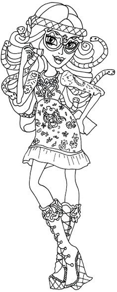 frights camera action monster high coloring pages | Free Printable Monster High Coloring Pages: Deuce Gorgon ...