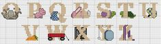 Here is the second half of a fun alphabet for cross-stitching! Find this and many more free cross stitch patterns at Craftown.com