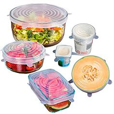Amazon.com: 12 PACK - Premium Silicone Stretch Lids - BPA FREE - SAVE MONEY - Reusable, Durable, Heat Resistant, Dishwasher, Microwave and Oven Safe Covers.: Kitchen & Dining