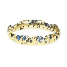 Polly Wales: Eroded Blue Sapphire & Diamond Yellow Gold Ring