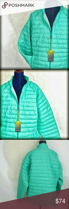 """NWT 2X Plus Packable Puffer Winter Jacket Coat Tek Gear Plus Size Puffer Jacket. New with tags! Lightweight enough to pack, yet still warm. Size : 2x MSRP: $80.00 * 2 zippered pockets * Zip front * Long sleeves * Polyester * Machine Wash Approximate flat measurements : Length: 28 inches underarm to underarm: 26"""". A gorgeous green/blue shade! tek gear Jackets & Coats Puffers"""
