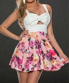 Printing stitching bow dress #082304TP