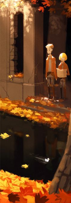 Ah at first glance I admired the colors of the leaves, but then I noticed Jean and Armin standing there and it got 100x better!!