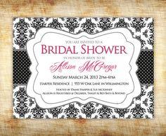 Bridal Shower Invitation  Black and White by StudioTwentyNine, $8.00