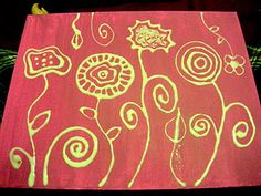 Draw your design with Elmers glue on a canvas.  Let dry, then paint over it.