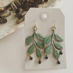 Birch Leaf Earrings  Verdigris Patina and Black by prettywar