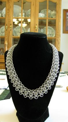 Chain maille necklace - elegant, dramatic by Barry Fuller of Briar Lane Studio.