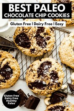 These easy to make paleo chocolate chip cookies are prepped in just 5 minutes! They are topped off with dark chocolate and flaked sea salt, yum! Throw everything into one bowl and pop them into the oven... they taste great out of the freezer, too! #paleo #glutenfree #dairyfree #cookies #movementmenu Best Homemade Cookie Recipe, Paleo Cookie Recipe, Delicious Cookie Recipes, Paleo Recipes Easy, Best Cookie Recipes, Bar Recipes, Free Recipes, Paleo Chocolate Chip Cookies, Paleo Cookies